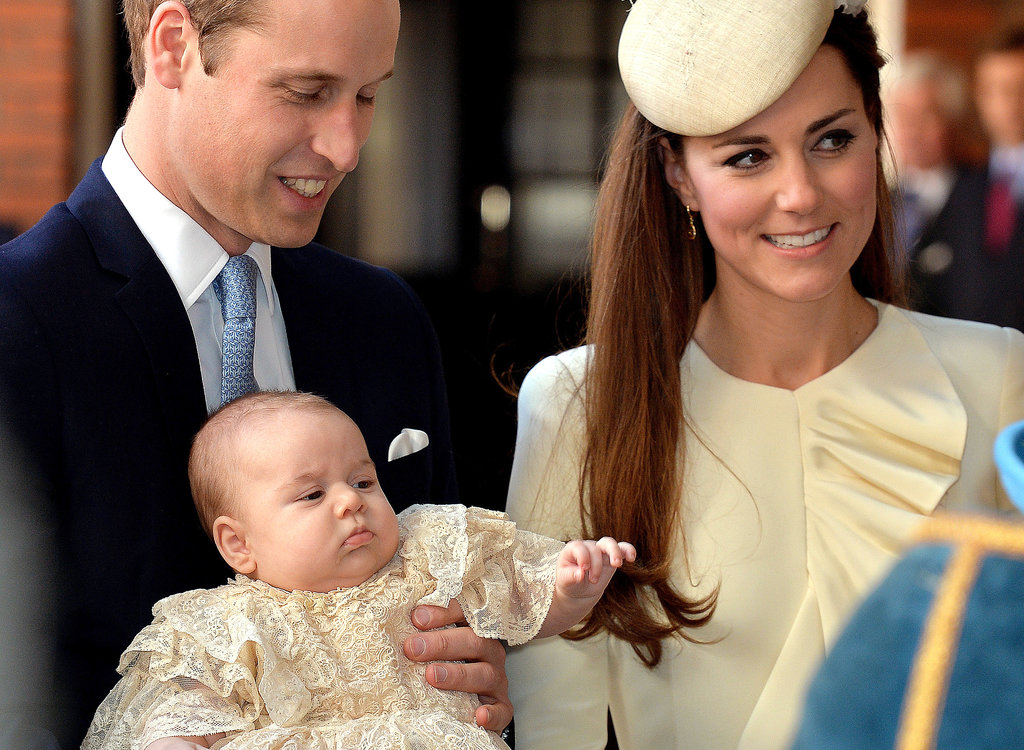 New parents Will and Kate kept the adorably chubby Prince George close during his christening.