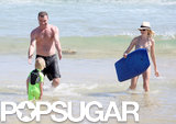 Liev Schrieber and Naomi Watts played around in the waves.