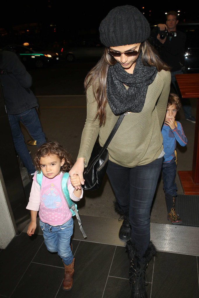 Camila Alves arrived at LAX with Levi and Vida.
