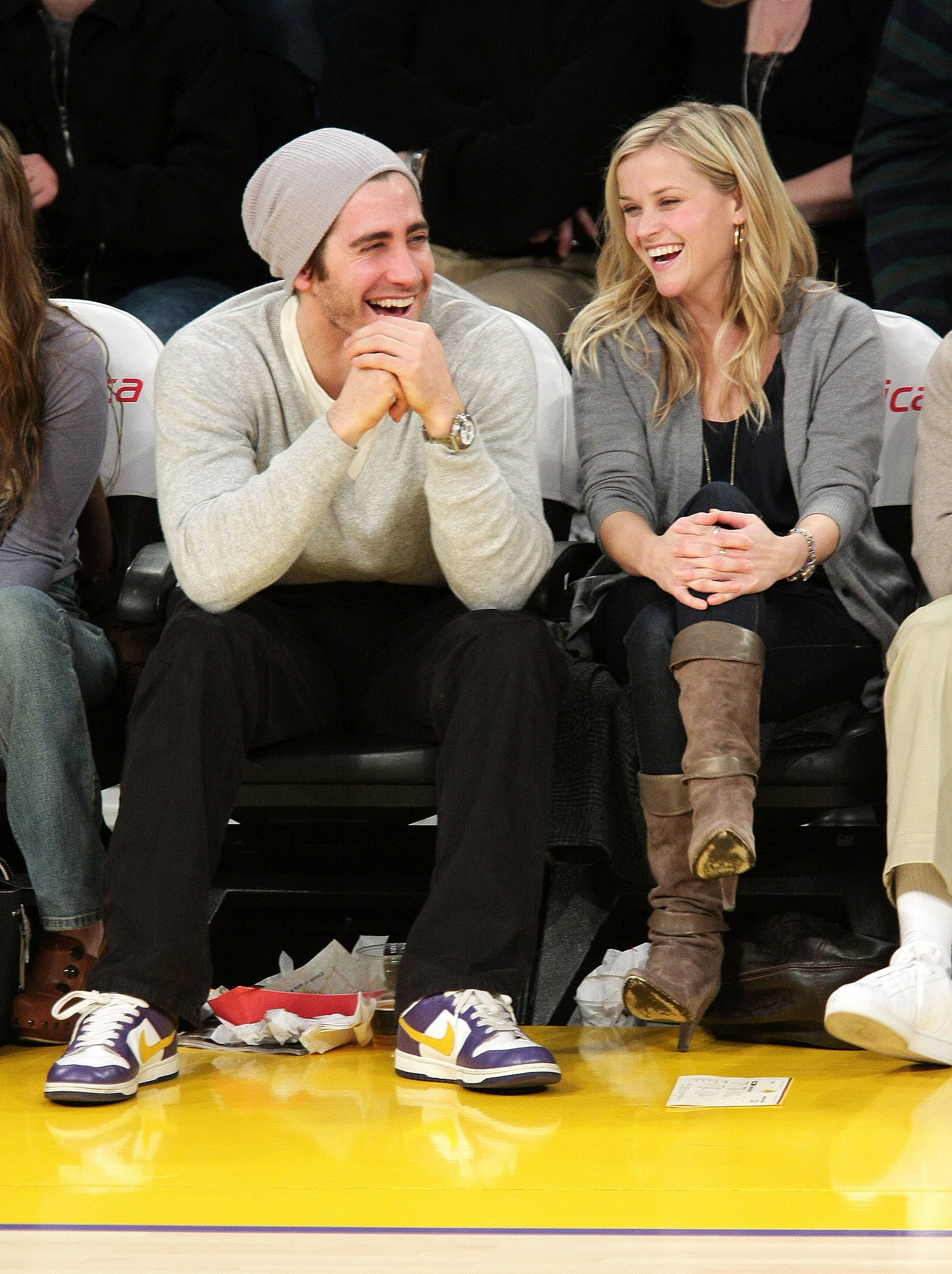 Jake was all smiles on the sidelines with then-girlfriend Reese Witherspoon — the couple took in an LA Lakers game in J