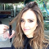 Jessica Alba snapped a selfie while in the hair and makeup chair — looking good! Source: Instagram user jessicaalba
