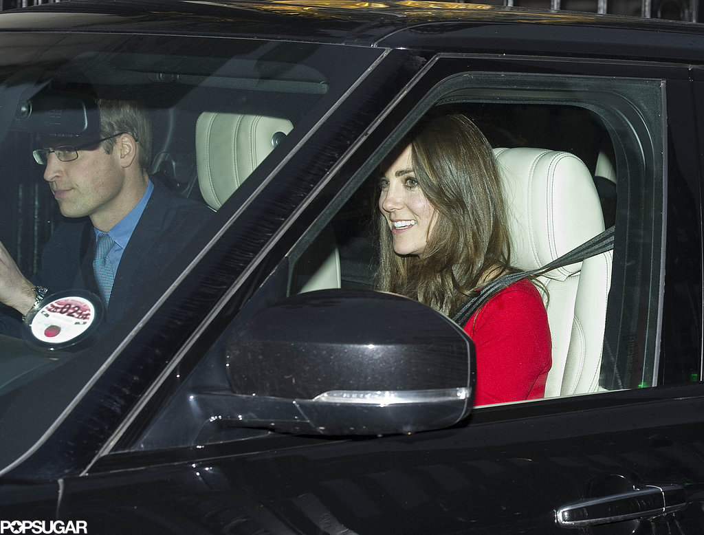 Kate Middleton smiled while pulling into Buckingham Palace.