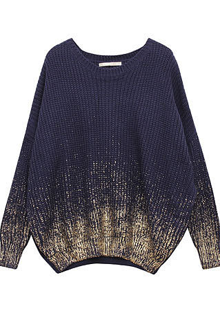 Stylish Unique Batwing Sleeve Gradient Contrast Color Knit Sweater