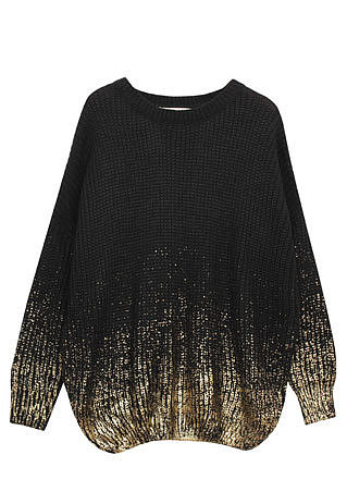Image of [grzxy6600874]Stylish Unique Batwing Sleeve Gradient Contrast Color Knit Sweater