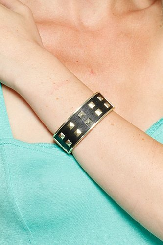 Studded Leather Hinge Bracelet