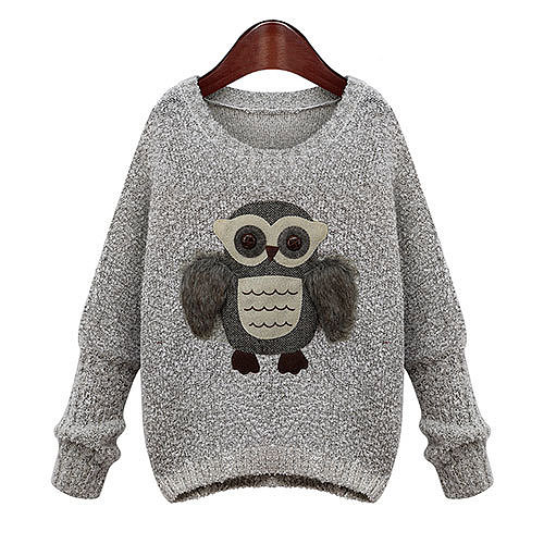Image of [grxjy560708]Cute Owl Crewneck Loose Knitted Sweater Elastic Thick Pullover