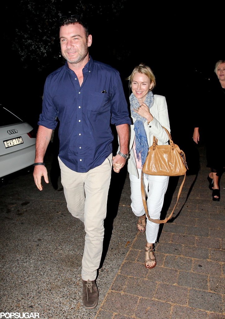Naomi Watts and Liev Schreiber walked hand in hand.