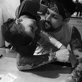 Joel Madden had an over-the-shoulders visit from little Sparrow at home. Source: Instagram user joelmadden