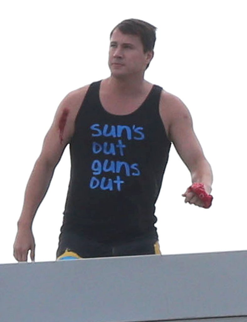 Channing Tatum wore fake blood on the set of 22 Jump Street in Puerto Rico on Sunday.