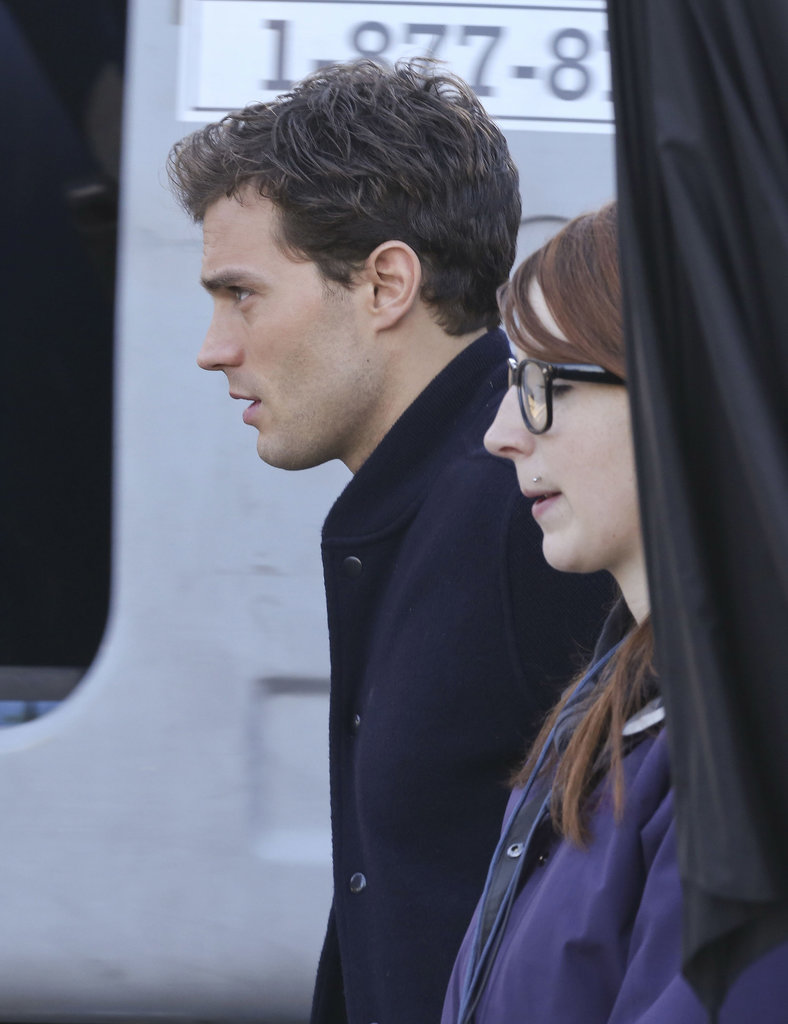 Jamie Dornan was back on the set of the Fifty Shades of Grey movie in Vancouver on Wednesday.