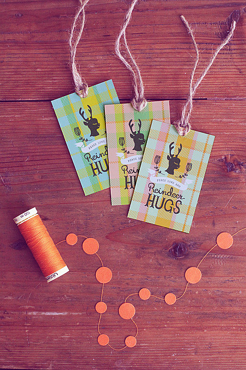Peace, Love, and Reindeer Hugs Gift Tags