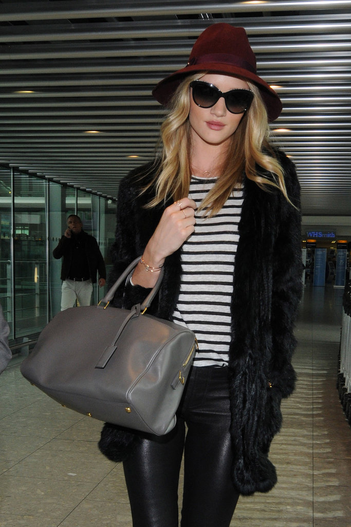 Rosie Huntington-Whiteley used her mushroom hued bag as the perfect carryon.