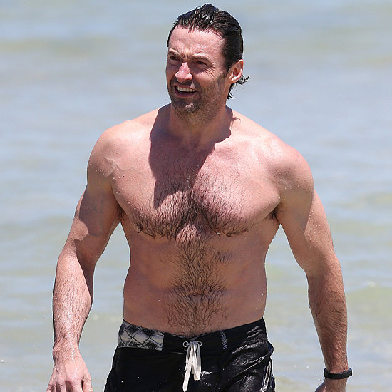 Hugh Jackman Shirtless At Bondi Beach