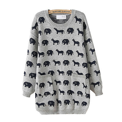 Image of [grxjy560714]Cartoon Pattern Bottoming Shirt Pockets Crewneck Thicken Split Sweater Pullover
