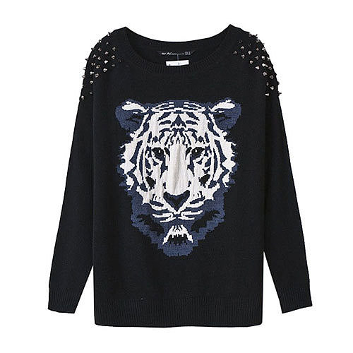 Image of [grxjy560716]Wild Tiger Print Chic Rivets Crewneck Batwing Loose Sweater Pullover