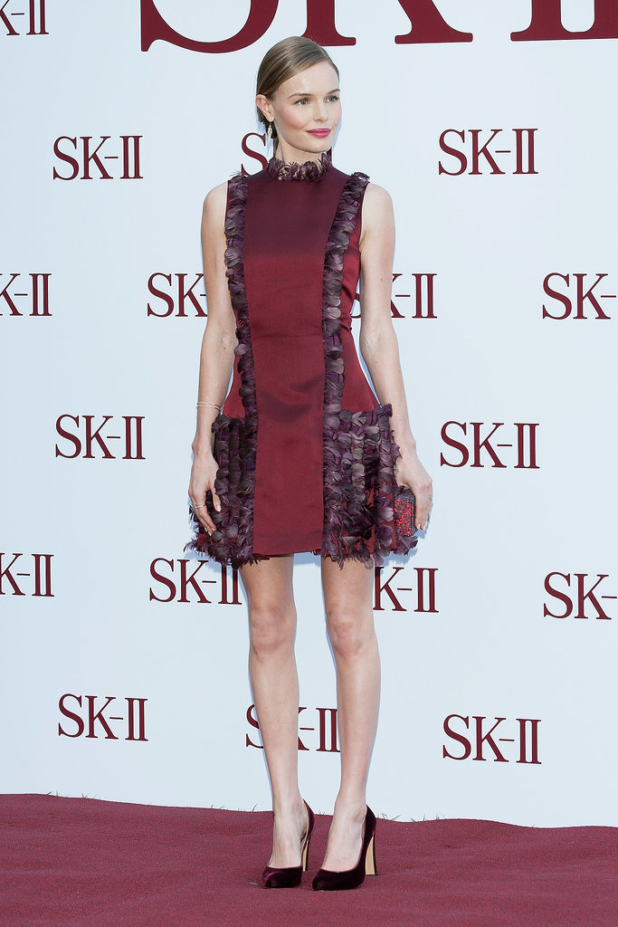 At an event for skin care brand SK-II in Seoul, Bosworth donned a red dress from Christopher Kane's Fall 2013 collection.