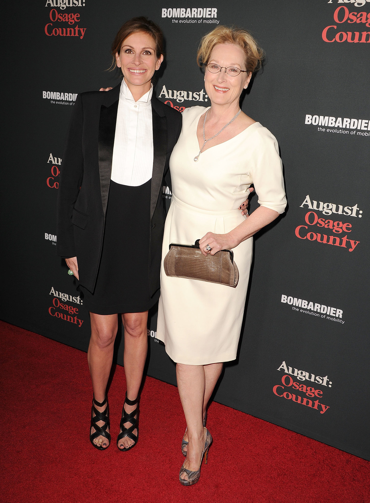 Julia Roberts and Meryl Streep hit the red carpet together for the LA premiere of their film August: Osage County.