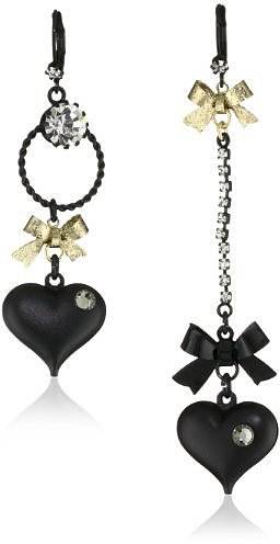 Betsey Johnson Mismatch Black Bubble Heart and Gold Bow Drop Earrings