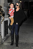 Miranda Kerr smiled at her son, Flynn Bloom, on a walk in NYC on Saturday.