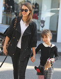 Jessica Alba held hands with her daughter Honor Warren as they crossed the street in LA.