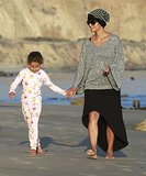 Halle Berry walked in the sand with her daughter, Nahla Aubry, in Malibu, CA.