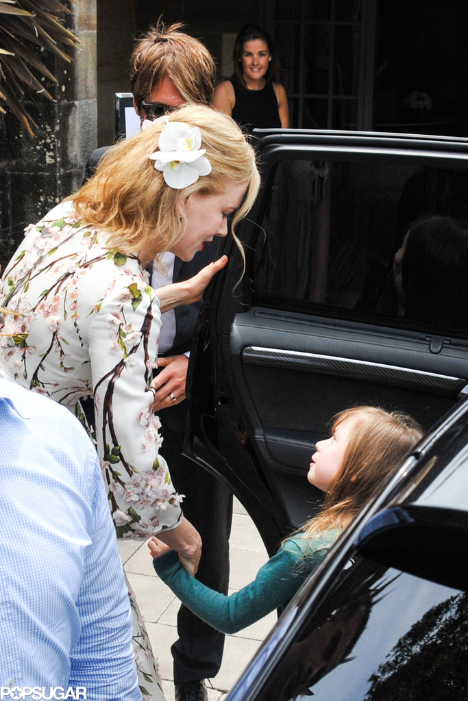 Nicole Kidman held her daughter Sunday's hand before they left the party.