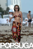 Molly Sims hit the beach with her son, Brooks Stuber.