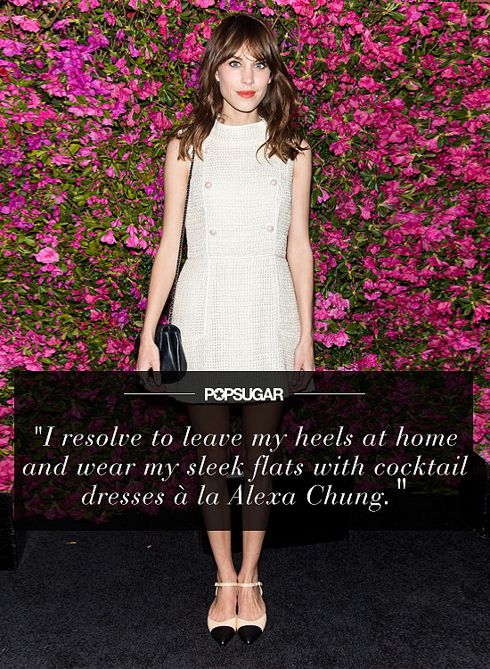 """My resolution is to wear flats with confidence in the New Year! Pointy toe is the shape of choice, and I resolve to leave my heels at home and wear my sleek flats with cocktail dresses à la Alexa Chung."" — Melissa Liebling-Goldberg, fashion and beauty director"