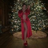 Mariah Carey showed us all she wanted for Christmas: a sexy red swimsuit to use in the hot tub. Source: Instagram user mariahcarey