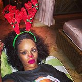 Rihanna got in the spirit, antlers and all. Source: Instagram user badgirlriri