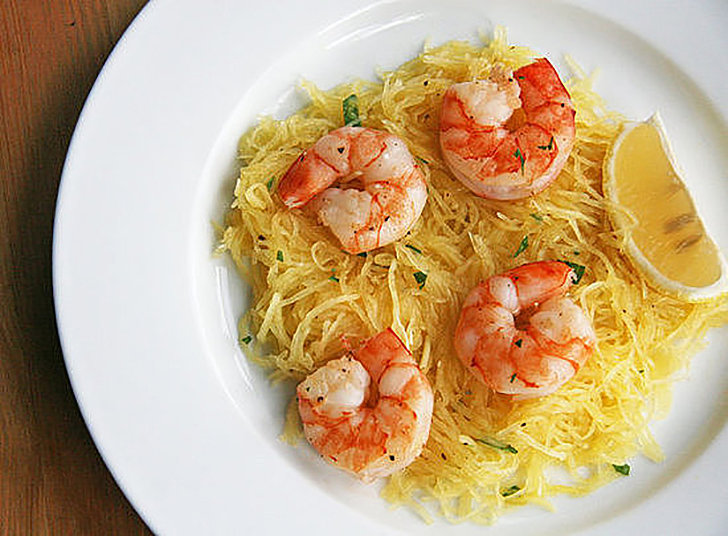 Lunch and Dinner: Shrimp Over Spaghetti Squash