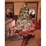 Gisele Bündchen's Christmas tree looked stuffed with gifts for her kids. Source: Instagram user giseleofficial