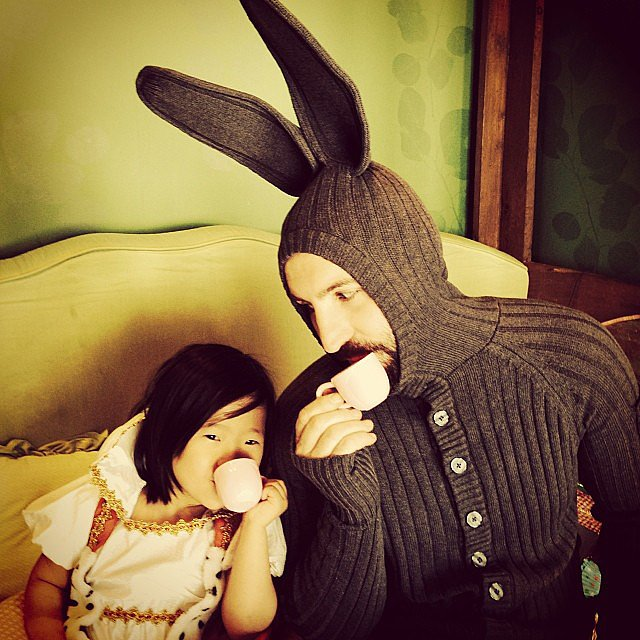 Naleigh Kelley and her bunny-ear-clad dad, Josh, took a moment for a little tea party on Christmas Day. Source: Instagram user joshbkelley