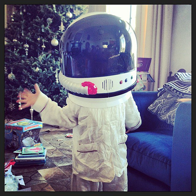 Stella Luna Pompeo Ivery was ready to be transported to outer space on Christmas morning. Source: Instagram user ellenpompeo