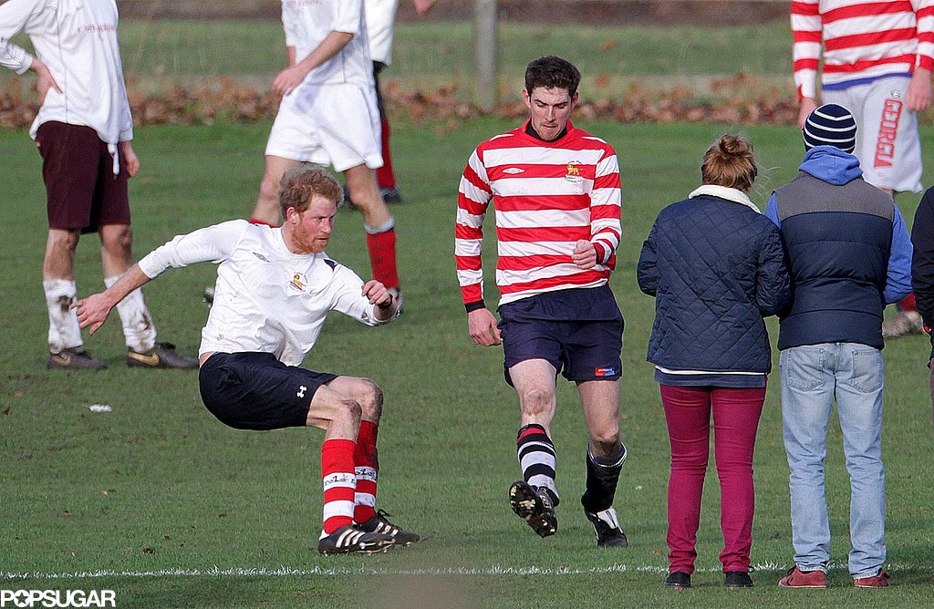 Prince Harry showed off his soccer skills while playing against his older brother.