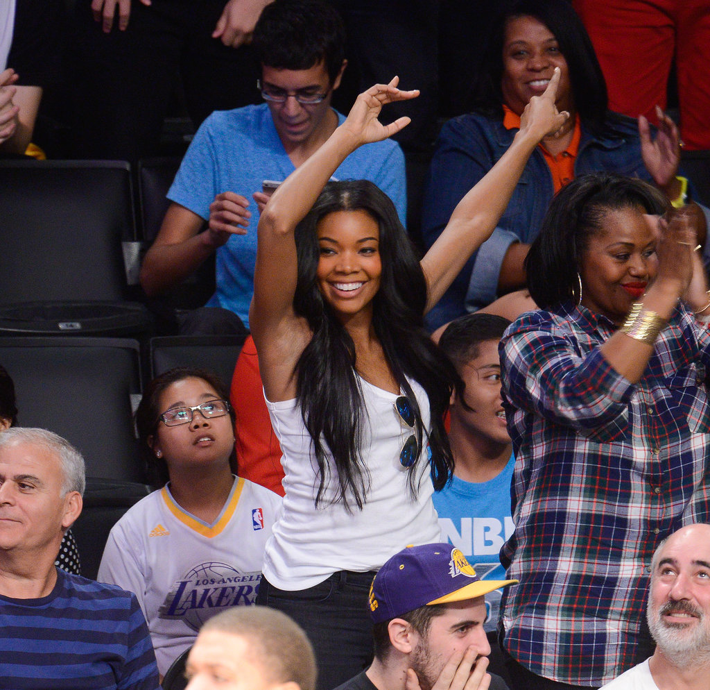 Newly engaged Gabrielle Union glowed at the Lakers game in LA while cheering on her fiancé, Miami Heat player Dwyane Wade.