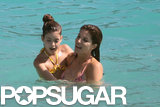 Stephanie Seymour held her daughter, Lily, in the water.