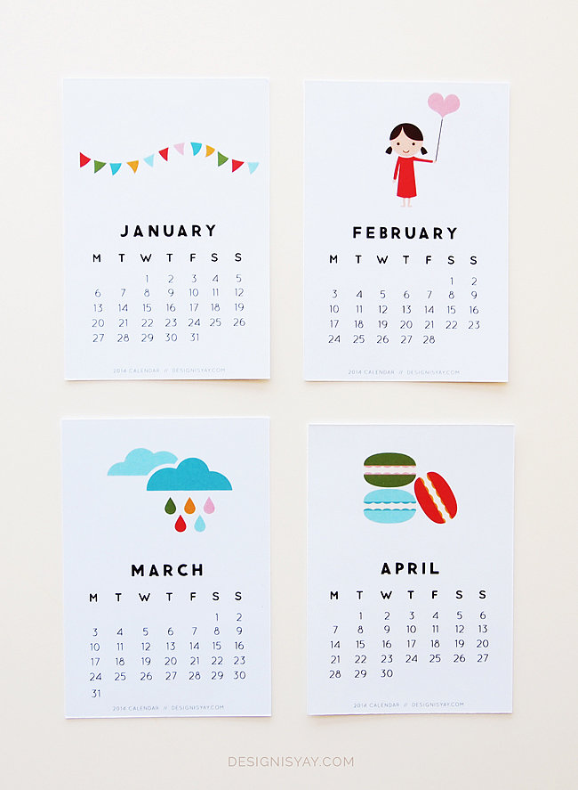 Colorful Illustrations 2014 Calendar