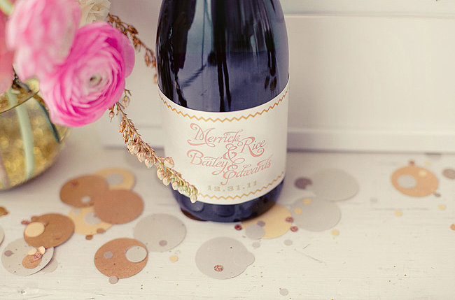 Customize your Champagne bottles with personalized labels. Photos by nbarrett photography via Green Wedding Shoes