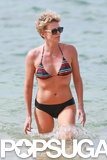 Charlize sported a mix-and-match bikini during her beach day.