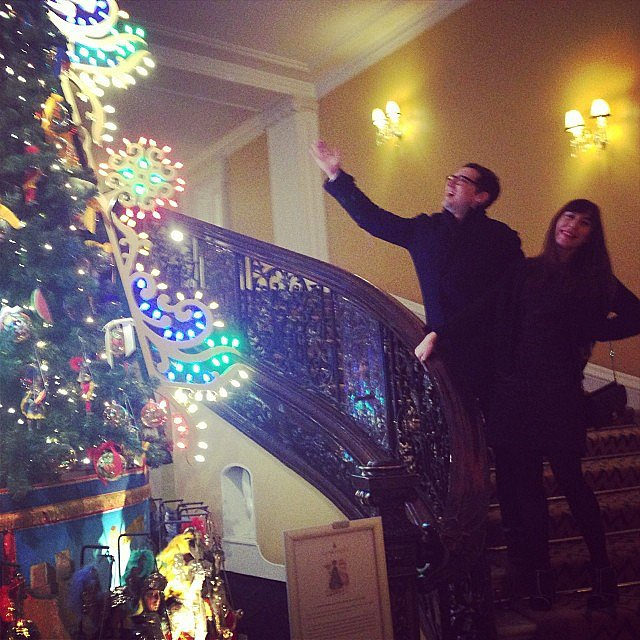 Erdem Moralıoğlu lit up from the sight of Dolce & Gabbana's Claridge's tree. Source: Instagram user erdemlondon