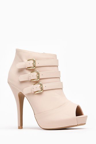 Anne Michelle Nude Triple Buckle Peep Toe Bootie @ Cicihot. Booties spell style, so if you want to show what you're made of, pic