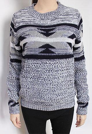 Image of [grzxy6600460]Retro Leisure Warm Geometric Figure Print Knit Sweater