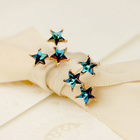 [grxjy5300152]Crystals Blue Stars Stud Earring Cute Ear Accesories