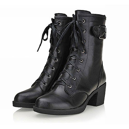 European Style Pure Color Zip Lace-up Boots for big sale!