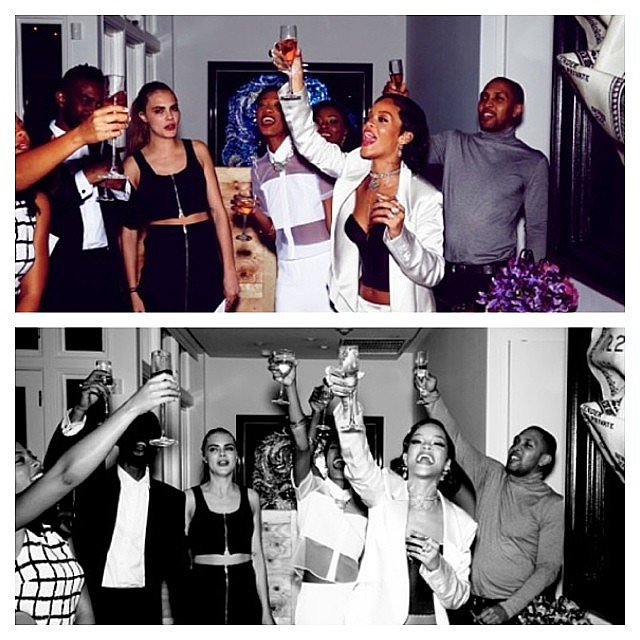 When the clock struck midnight, Cara and Rihanna gave a rowdy toast to the New Year!  Source: Instagram user caradelevingne