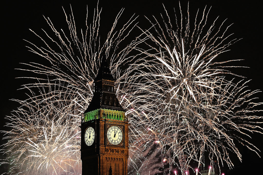 Big Ben was surrounded by fireworks at midnight.