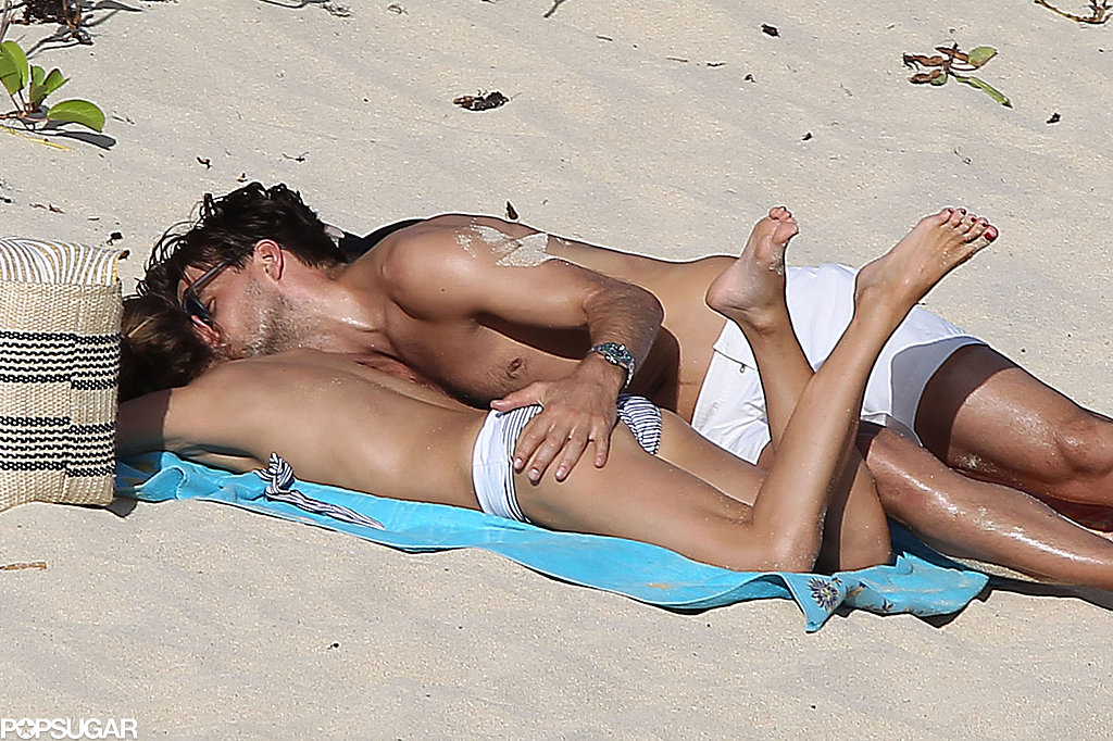 The couple showed steamy PDA on the sand.