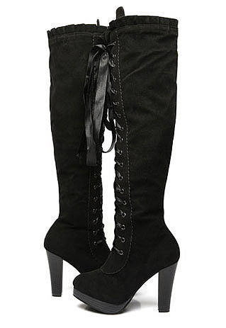 ]Sweet Girls Lace Up Block Heel Riding Over Knee Thigh High Boots