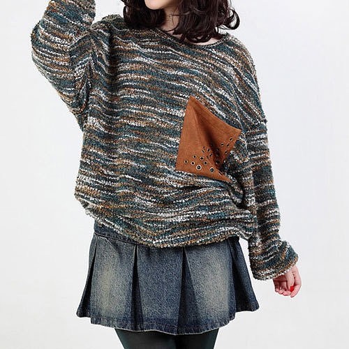 Image of [grzxy6600967]Fashion Mixed Colors Patch Pocket Loose Crewneck Sweater Pullover Tops